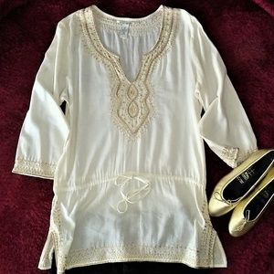 Lucky Brand Medium Boho Embroidered Tunic